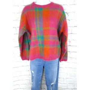 Vintage Express Tricot Wool Color Block Sweater L